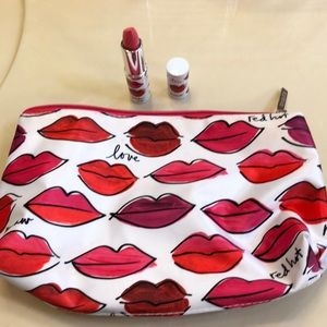 Clinique lipstick and makeup bag